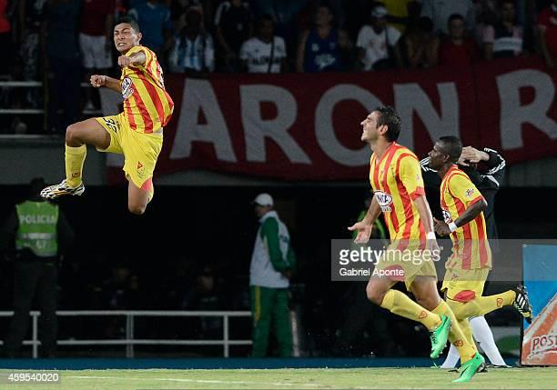Eder Castañeda of Deportivo Pereira celebrates after scoring the opening goal during a match between Deportivo Pereira and America de Cali as part of...
