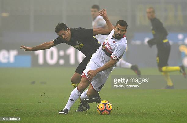 Eder Citadin Martins of FC Internazionale is challenged by Tomas Rincon of Genoa CFC during the Serie A match between FC Internazionale and Genoa CFC...