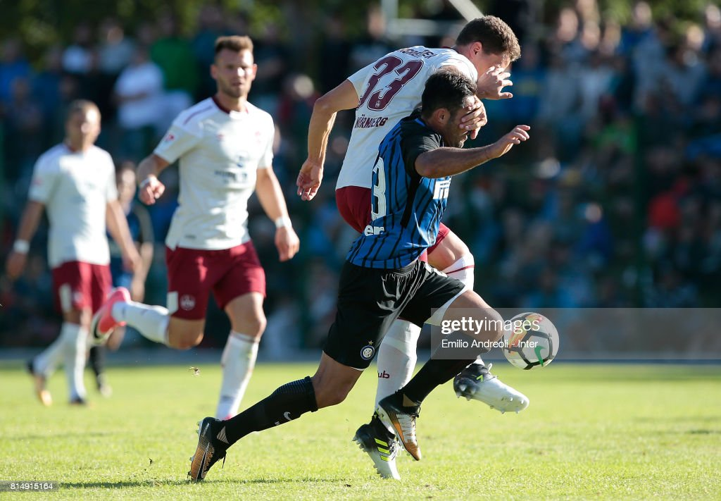 Eder Citadin Martins of FC Internazionale Milano (front) competes for the ball with Georg Margreitter of FC Nurnberg during the Pre-Season Friendly match between FC Internazionale and Nurnberg on July 15, 2017 in Bruneck, Italy.