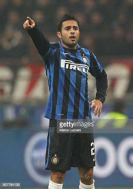 Eder Citadin Martins of FC Internazionale Milano gestures during the Serie A match between AC Milan and FC Internazionale Milano at Stadio Giuseppe...