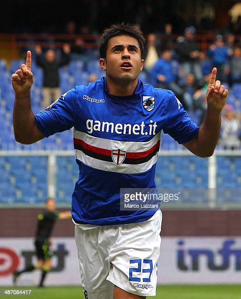 Eder Citadin Martins of UC Sampdoria celebrates his goal during the Serie A match between UC Sampdoria and AC Chievo Verona at Stadio Luigi Ferraris...