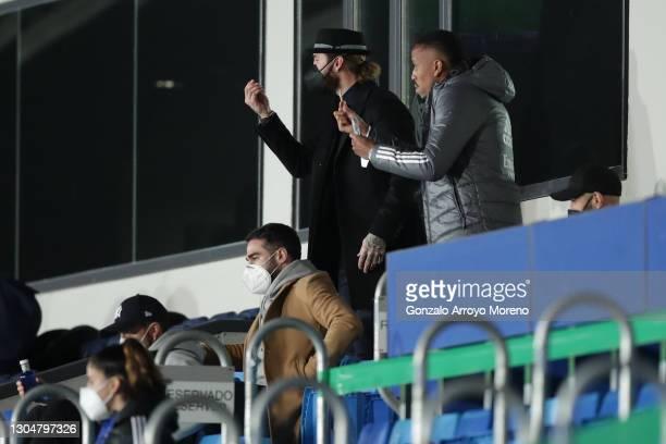 Eder Gabriel Militao of Real Madrid CF and his teammate Sergio Ramos gesture during the La Liga Santander match between Real Madrid and Real Sociedad...