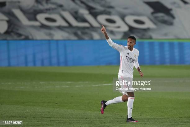 Eder Gabriel Militao of Real Madrid CF celebrates scoring their opening goal during the La Liga Santander match between Real Madrid and C.A. Osasuna...