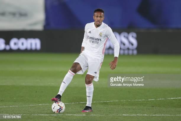 Eder Gabriel Militao of Real Madrid CF controls the ball during the La Liga Santander match between Real Madrid and C.A. Osasuna at Estadio Alfredo...