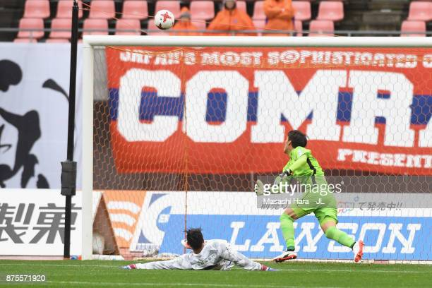 Eder Lima of Ventforet Kofu concedes Albirex Niigata own goal during the JLeague J1 match between Albirex Niigata and Ventforet Kofu at Denka Big...