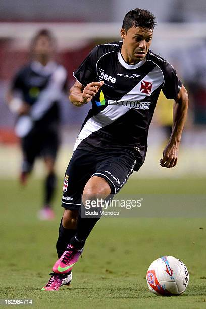 Eder Luis of Vasco fights for the ball during the match between Fluminense and Vasco as part of Carioca Championship 2013 at Engenhao Stadium on...