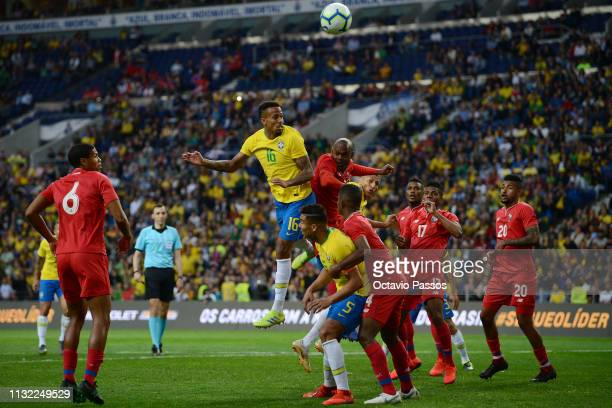 Eder Militao of Brazil competes for the ball with Adolfo Machado of Panama during the international friendly match between Brazil and Panama at...