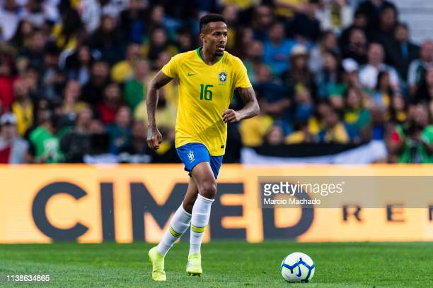 Eder Militao of Brazil in action during the International Friendly Match between Brazil and Panama at Estadio do Dragao on March 23, 2019 in Porto,...