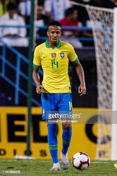 Eder Militao of Brazil in action during the international friendly match between Brazil and Argentina at the King Saud University Stadium on November...