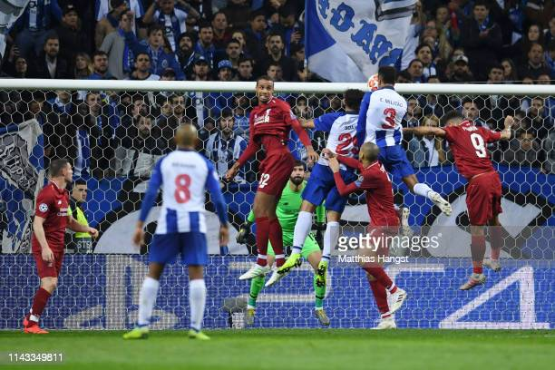 Eder Militao of FC Porto scores his sides first goal during the UEFA Champions League Quarter Final second leg match between Porto and Liverpool at...