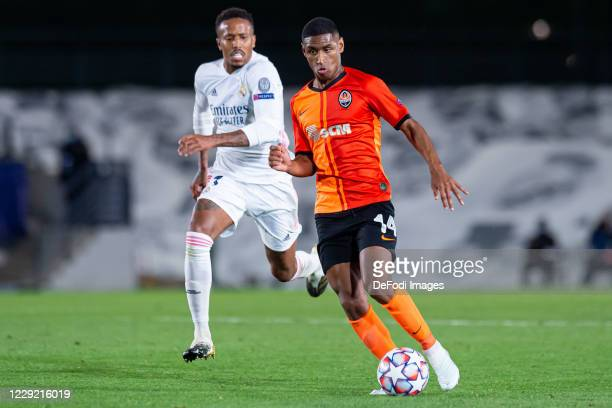Eder Militao of Real Madrid and Tete of FC Shakhtar Donetsk battle for the ball during the UEFA Champions League Group B stage match between Real...