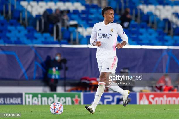 Eder Militao of Real Madrid controls the ball during the UEFA Champions League Group B stage match between Real Madrid and Shakhtar Donetsk at...