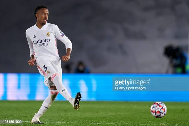 Eder Militao of Real Madrid in action during the UEFA Champions League Group B stage match between Real Madrid and Shakhtar Donetsk at Estadio...