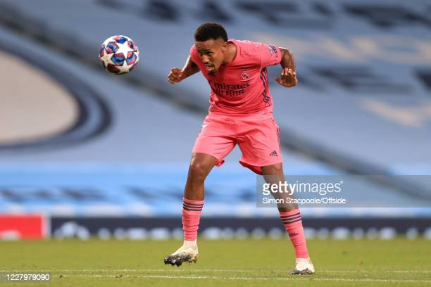 Eder Militao of Real Madrid in action during the UEFA Champions League round of 16 second leg match between Manchester City and Real Madrid at Etihad...