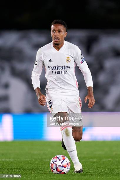 Eder Militao of Real Madrid looks on during the UEFA Champions League Group B stage match between Real Madrid and Shakhtar Donetsk at Estadio Alfredo...