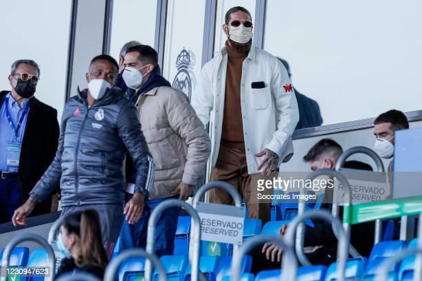 Eder Militao of Real Madrid, Lucas Vazquez of Real Madrid, Sergio Ramos of Real Madrid during the La Liga Santander match between Real Madrid v...