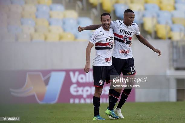 Eder Militao of Sao Paulo celebrates their first scored goal with Nene during the match between Fluminense and Sao Paulo as part of Brasileirao...