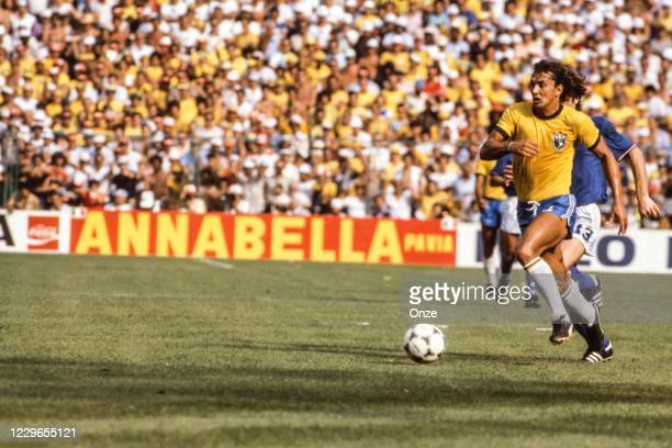 Eder of Brazil during the second stage of the 1982 FIFA World Cup match between Italy and Brazil, at Sarria Stadium, Barcelona, Spain on 5 July 1982