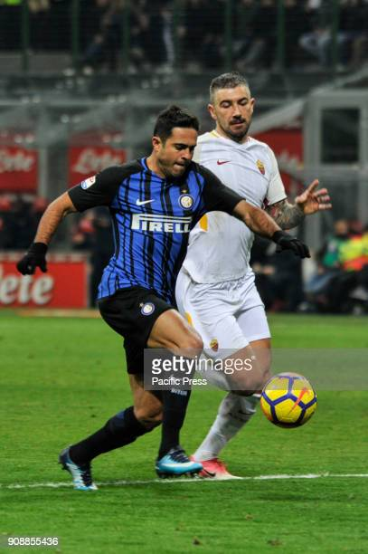 Eder of FC Inter competes for the ball with Aleksandar Kalorov of AS Roma during Serie A football FC Inter versus AS Roma FC inter and AS Roma finish...