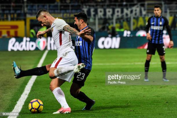 Eder of FC Inter competes with Aleksandar Kolarov of AS Roma during Serie A football FC Inter versus AS Roma FC inter and AS Roma finish the match 11