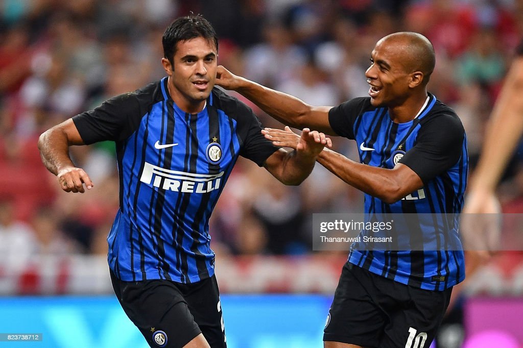 Eder #23 of FC Interernazionale and Joao Mario #10 celebrates during the International Champions Cup match between FC Bayern Munich and FC Internazionale at National Stadium on July 27, 2017 in Singapore.