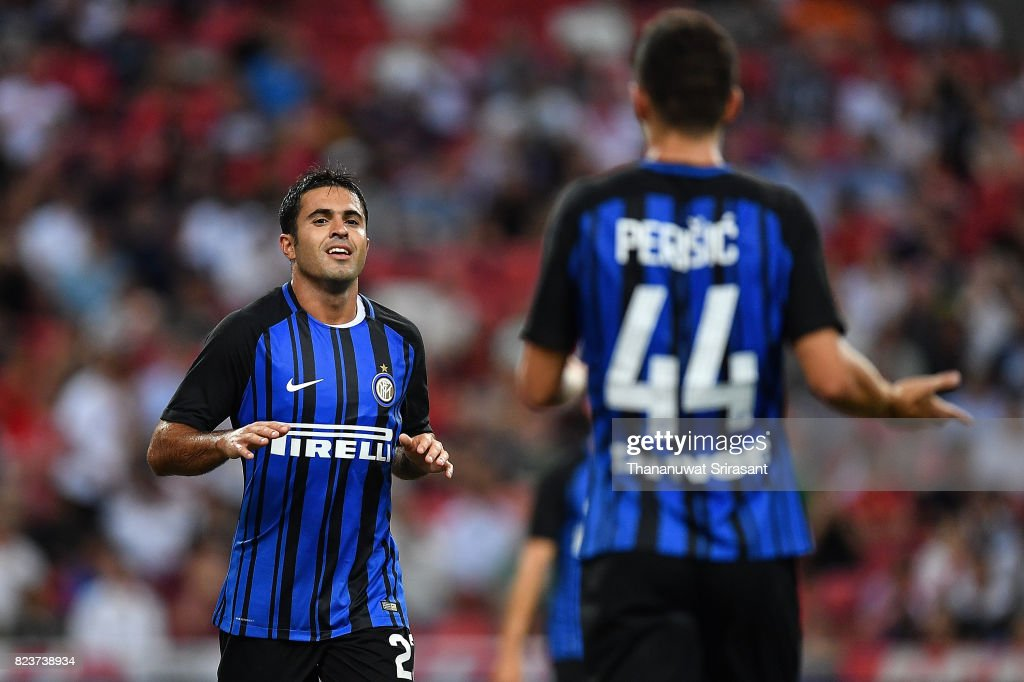Eder #23 of FC Interernazionale celebrates during the International Champions Cup match between FC Bayern Munich and FC Internazionale at National Stadium on July 27, 2017 in Singapore.