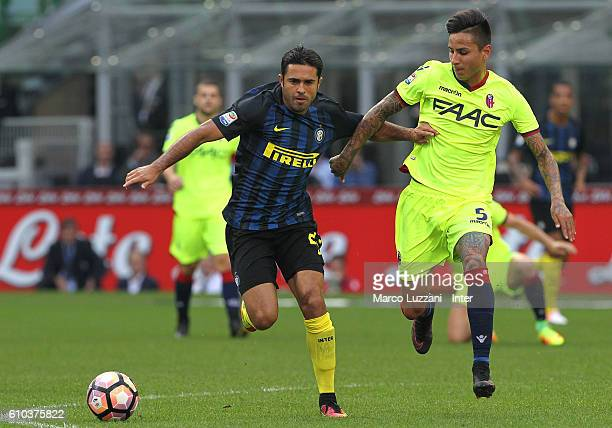 Eder of FC Internazionale and Erick Pulgar of Bologna FC compete for the ball during the Serie A match between FC Internazionale and Bologna FC at...