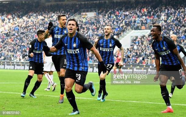 Eder of FC Internazionale celebrates after scoring the opening goal during the serie A match between FC Internazionale and Bologna FC at Stadio...