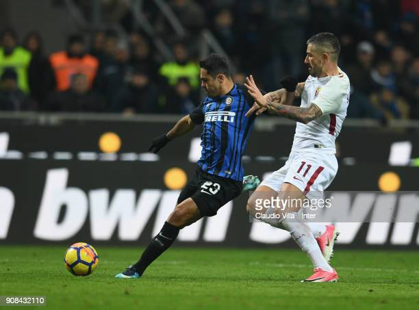 Eder of FC Internazionale competes for the ball with Aleksandar Kolarov of AS Roma during the Serie A match between FC Internazionale and AS Roma at...