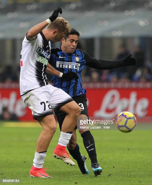 Eder of FC Internazionale competes for the ball with Antonin Barak of Udinese Calcio during the Serie A match between FC Internazionale and Udinese...
