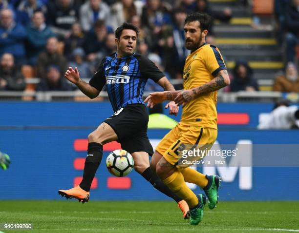 Eder of FC Internazionale competes for the ball with Antonio Caracciolo of Hellas Verona FC during the serie A match between FC Internazionale and...