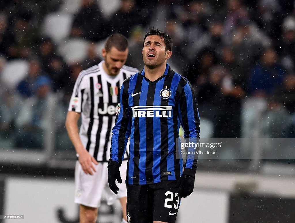 Eder of FC Internazionale dejected during the Serie A match between Juventus FC and FC Internazionale Milano at Juventus Arena on February 28, 2016 in Turin, Italy.