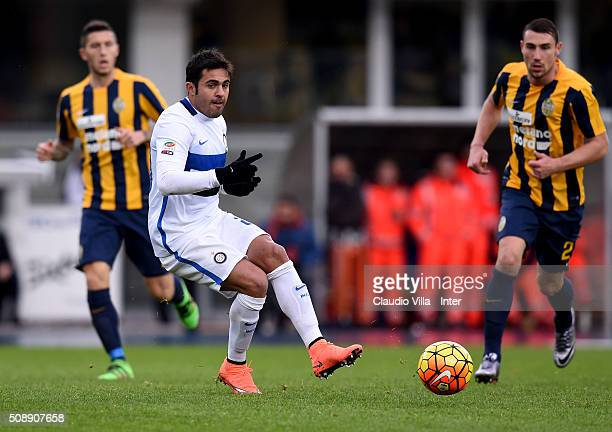 Eder of FC Internazionale in action during the Serie A match between Hellas Verona FC and FC Internazionale Milano at Stadio Marc'Antonio Bentegodi...