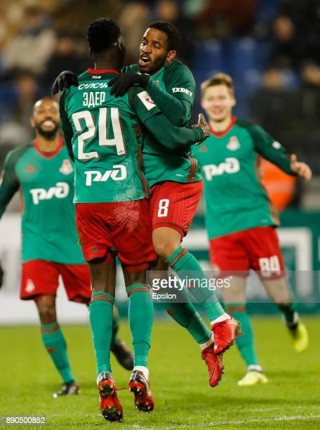 Eder of FC Lokomotiv Moscow celebrates his goal with Jefferson Farfan during the Russian Football League match between FC Tosno and FC Lokomotiv...