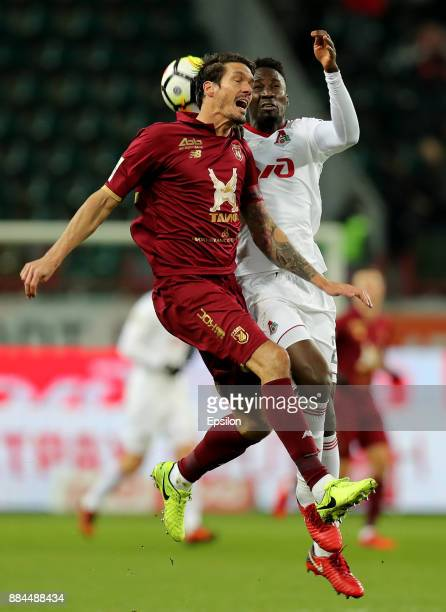 Eder of FC Lokomotiv Moscow vies for the ball with Cesar Navas of FC Rubin Kazan during the Russian Premier League match between FC Lokomotiv Moscow...