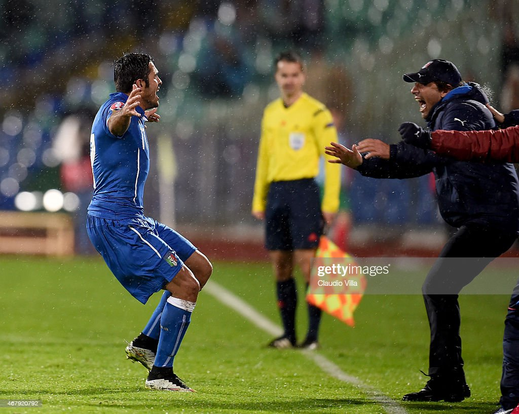 Eder of Italy (L) and Antonio Conte celebrate after scoring the second goal during the Euro 2016 Qualifier match between Bulgaria and Italy at Vasil Levski National Stadium on March 28, 2015 in Sofia, Bulgaria.