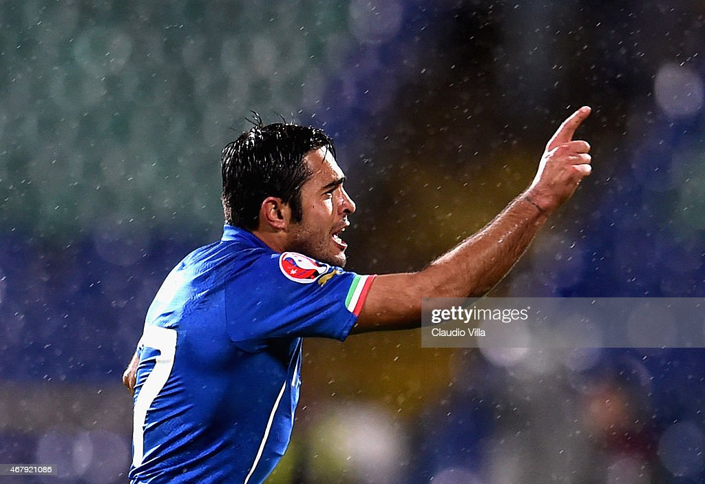 Eder of Italy #17 celebrates after scoring the second goal during the Euro 2016 Qualifier match between Bulgaria and Italy at Vasil Levski National Stadium on March 28, 2015 in Sofia, Bulgaria.