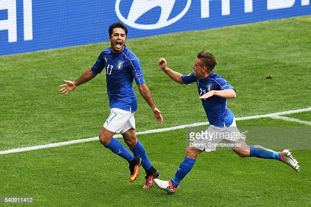 Eder of Italy celebrates with Emanuele Giaccherini of Italy after he scores his sides first goal during the UEFA EURO 2016 Group E match between...