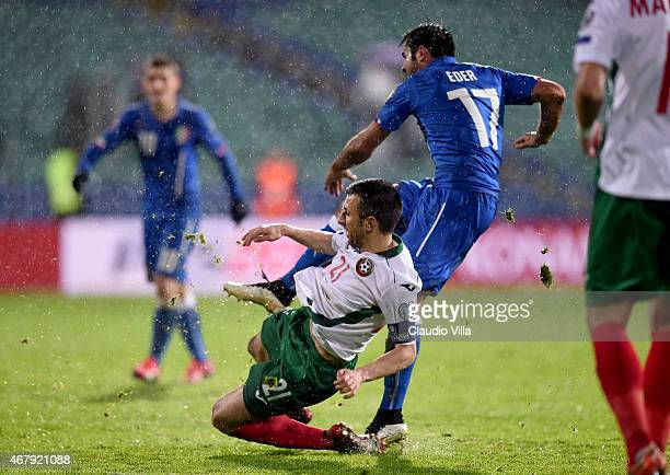 Eder of Italy scores the second goal during the Euro 2016 Qualifier match between Bulgaria and Italy at Vasil Levski National Stadium on March 28...