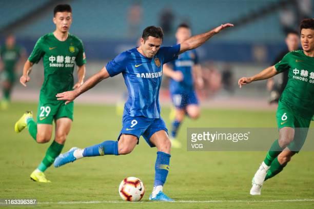 Eder of Jiangsu Suning shoots the ball during the 19th round match of 2019 Chinese Football Association Super League between Jiangsu Suning and...
