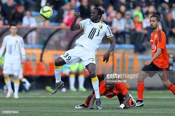 Eder of Lille and Didier Ndong of Lorient during the French Ligue 1 match between Fc Lorient and Lille OSC at Stade du Moustoir on April 30, 2016 in...