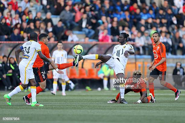 Eder of Lille and Wesley Lautoa of Lorient during the French Ligue 1 match between Fc Lorient and Lille OSC at Stade du Moustoir on April 30 2016 in...
