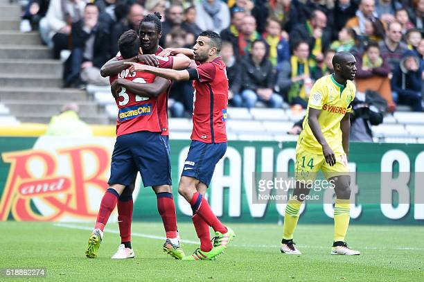 Eder of Lille celebrates his goal during the French League 1 match between Fc Nantes and Lille OSC at Stade de la Beaujoire on April 3 2016 in Nantes...