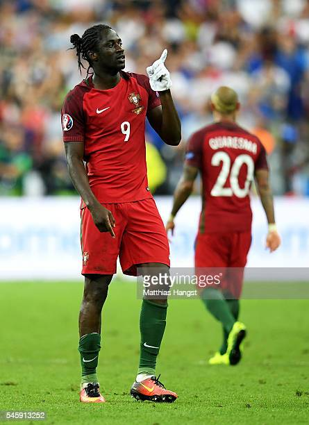 Eder of Portugal celebrates after the opening goal by putting on a white glove during the UEFA EURO 2016 Final match between Portugal and France at...