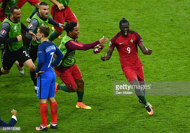 Eder of Portugal celebrates scoring the opening goal during the UEFA EURO 2016 Final match between Portugal and France at Stade de France on July 10...