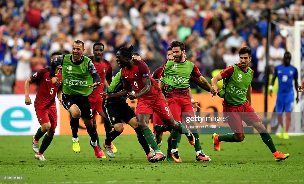 Éder celebrates after scoring the game winning goal for Portugal at the Euro 2016 final.  (Photo by Laurence Griffiths/Getty Images)