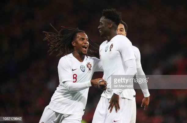 Eder of Portugal celebrates with Renato Sanches after he scores his side's second goal during the International Friendly match between Scotland and...