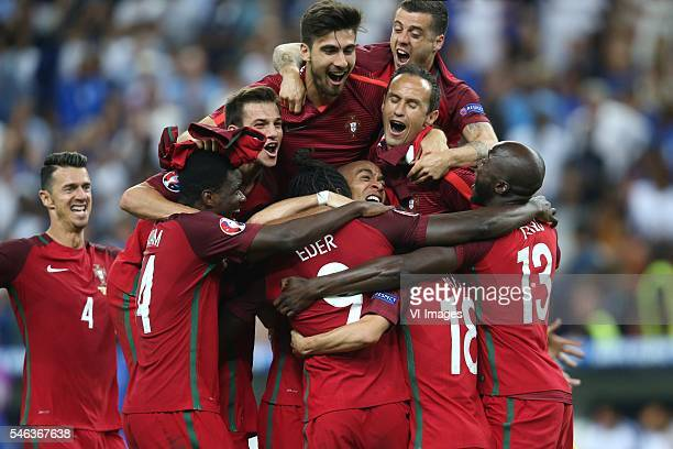 Eder of Portugal Jose Fonte of Portugal William Carvalho of Portugal Rafa Silva of Portugal Danilo of Portugal Bruno Alves of Portugal during the...