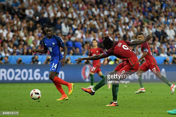 Eder of Portugal scores the opening goal during the UEFA EURO 2016 Final match between Portugal and France at Stade de France on July 10 2016 in...