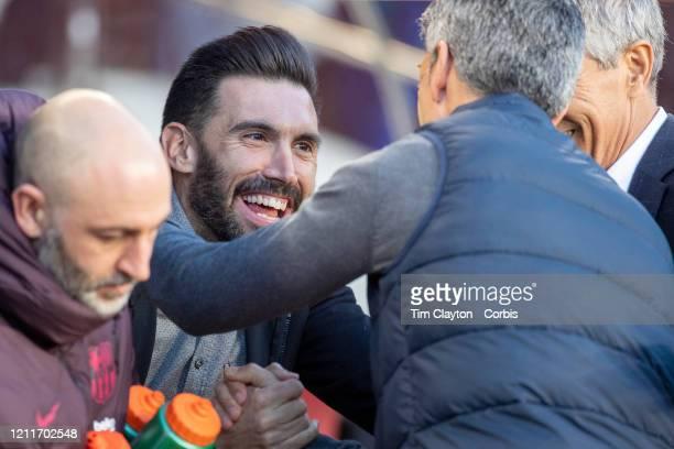Eder Sarabia assistant coach of Barcelona greets Imanol Alguacil head coach of Real Sociedad on the sideline before the Barcelona V Real Sociedad La...